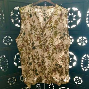 Vintage Floral Sleeveless Blouse